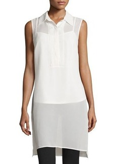 Neiman Marcus Sleeveless Long Chiffon Tank w/ Pintucked Bib