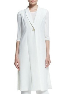 Neiman Marcus Sleeveless Long One-Button Vest