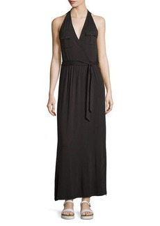 Neiman Marcus Belted Sleeveless Military Maxi Dress