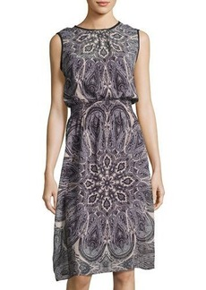 Neiman Marcus Sleeveless Paisley-Print Chiffon Dress