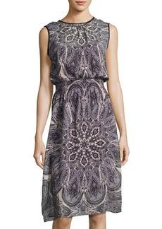 Neiman Marcus Sleeveless Paisley-Print Chiffon Dress