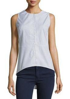 Neiman Marcus Sleeveless Pinstriped Peplum High-Low Blouse