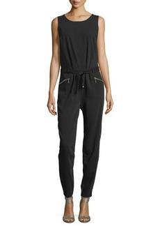 Neiman Marcus Sleeveless Pleated Zip-Pocket Jumpsuit