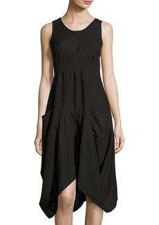 Neiman Marcus Sleeveless Ribbed-Waist Linen Dress