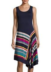 Neiman Marcus Sleeveless Round-Neck Midi Dress