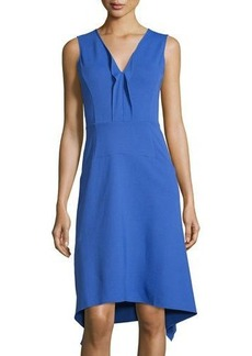 Neiman Marcus Sleeveless Ruffled V-Neck Knit Dress