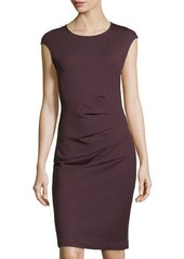 Neiman Marcus Sleeveless Side-Ruched Dress