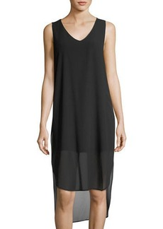 Neiman Marcus Sleeveless V-Neck Super Tunic
