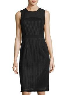 Neiman Marcus Sleeveless Woven Mesh Dress