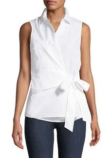 Neiman Marcus Sleeveless Wrap Tie-Waist Blouse