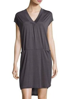 Neiman Marcus Slip-Pocket Draped Jersey Dress
