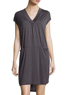 Neiman Marcus Slip-Pocket Draped Jersey Dress