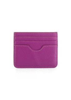 Neiman Marcus Small Flat Saffiano Leather Card Case