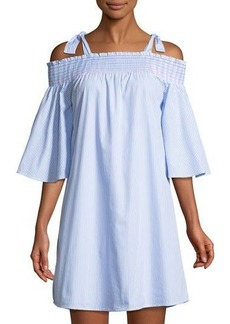 Neiman Marcus Smocked Cold-Shoulder Dress