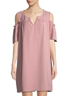 Neiman Marcus Smocked Cold-Shoulder Shift Dress