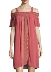 Neiman Marcus Smocked Off-the-Shoulder Embroidered Dress