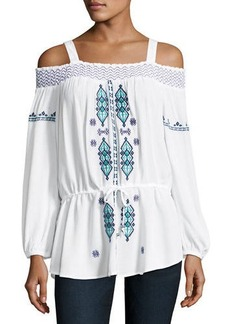 Neiman Marcus Smocked Off-the-Shoulder Peasant Blouse