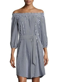 Neiman Marcus Smocked Off-the-Shoulder Striped Dress
