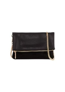 Neiman Marcus Smooth Fold-Over Clutch Bag