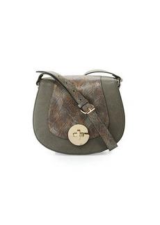 Neiman Marcus Snake-Embossed Faux-Leather Saddle Bag