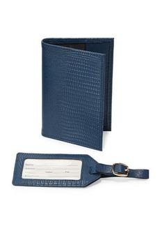 Neiman Marcus Snake-Embossed Passport Holder & Luggage Tag Boxed Set