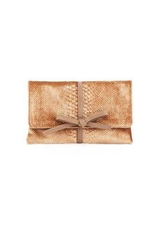 Neiman Marcus Snake-Embossed Velvet Clutch Bag