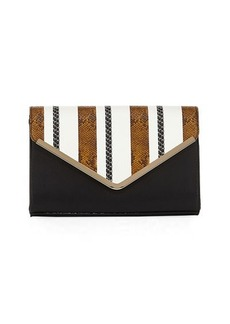 Neiman Marcus Snake-Print Striped Clutch Bag