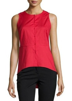 Neiman Marcus Solid Button-Front Peplum Blouse