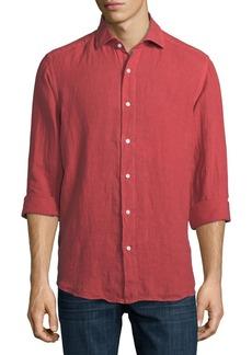 Neiman Marcus Solid Linen Sport Shirt