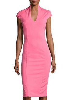 Neiman Marcus Solid V-Neck Cap-Sleeve Dress