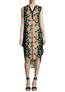 Neiman Marcus Split-Neck Floral-Print Sleeveless Tunic Dress
