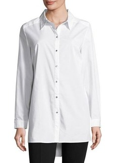 Neiman Marcus Spread-Collar Long-Sleeve Long Blouse