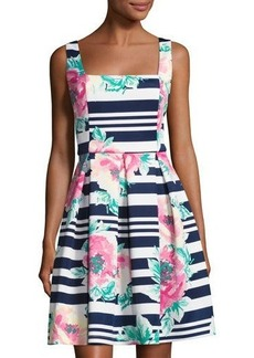 Neiman Marcus Square-Neck Floral-Print Scuba Dress