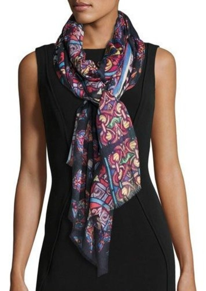 Neiman Marcus Stained Glass-Print Wrap Scarf