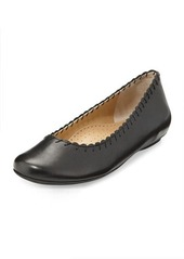 Neiman Marcus Stansie Scalloped Leather Flat