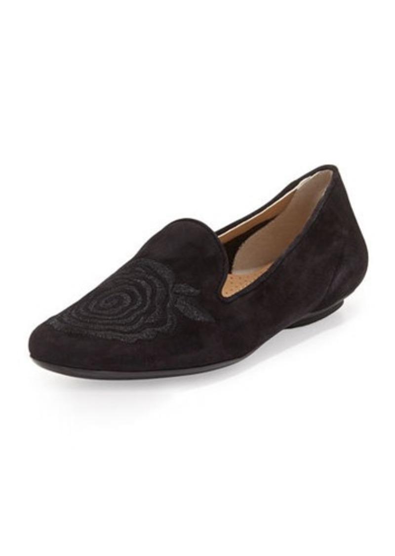 Neiman Marcus Stefina Embroidered Suede Flat