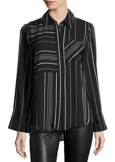Neiman Marcus Stripe-Print Chiffon Blouse