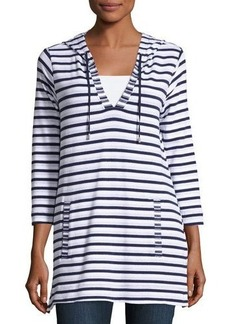 Neiman Marcus Striped 3/4-Sleeve Hooded Tunic