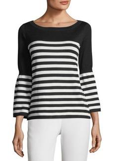 Neiman Marcus Striped Bell-Sleeve Sweater
