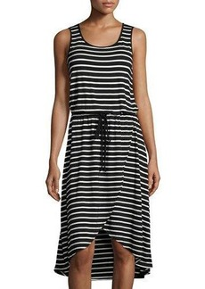 Neiman Marcus Striped Drawstring High-Low Dress