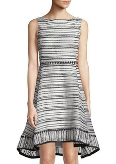 Neiman Marcus Striped Fit-&-Flare Dress