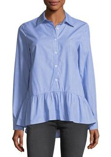 Neiman Marcus Striped Flounce-Hem Shirt