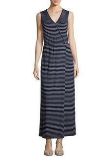 Neiman Marcus Striped Jersey Maxi Dress