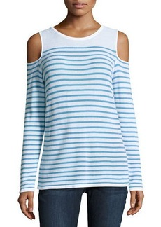 Neiman Marcus Striped Knit Cold-Shoulder Top