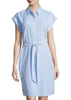 Neiman Marcus Striped Lace-Inset Shirtdress