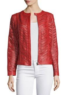 Neiman Marcus Striped Leather Jacket