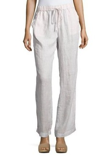 Neiman Marcus Striped Linen Drawstring Pants