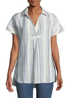 Neiman Marcus Striped-Linen Short-Sleeve Tunic