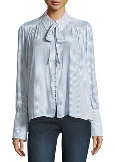 Neiman Marcus Striped Neck-Tie Blouse