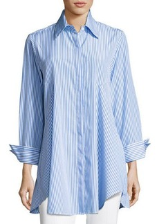 Neiman Marcus Striped Relaxed Button Blouse